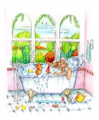 Bentley having bubble fun (Collings and Company) Tags: bubbles bath tub soap flickr bunny rabbit
