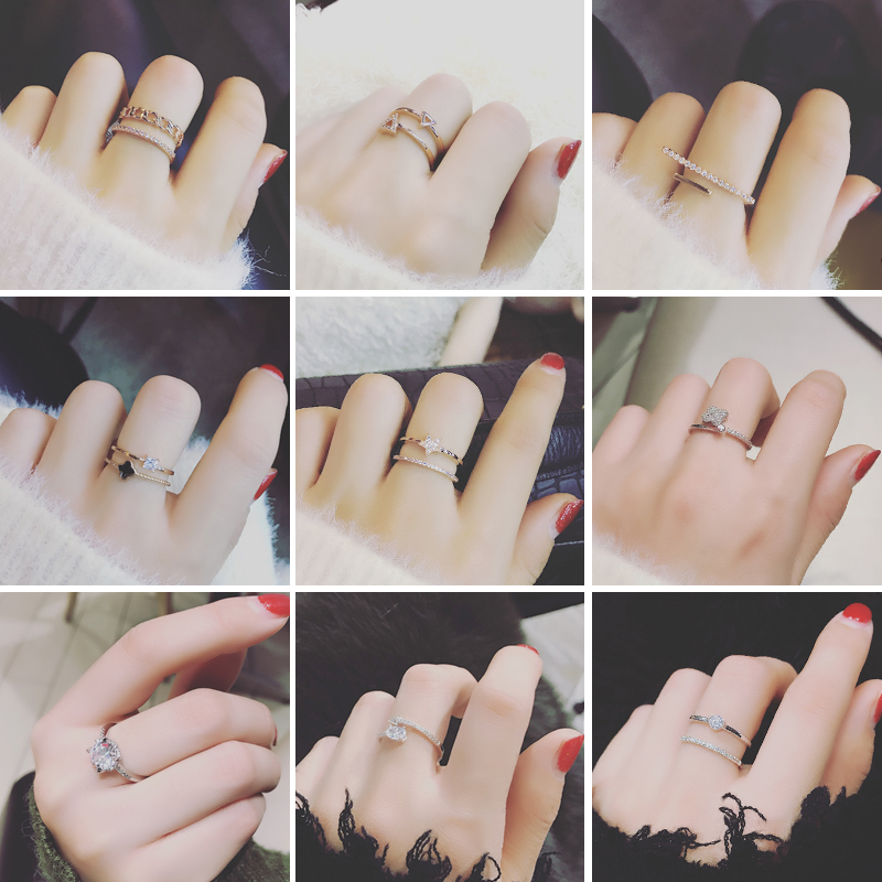 Korean version of the new fashion trendsetter all-match geometric ring opening minimalist personality and temperament of female ornaments