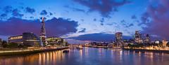 London's panorama (Jacek Pilarski) Tags: shard london panorama thames river blue sunset hour dawn lights city citylights theshard londonpanorama skygarden towerhill old clouds londonbridge belfast longexposure cityhall