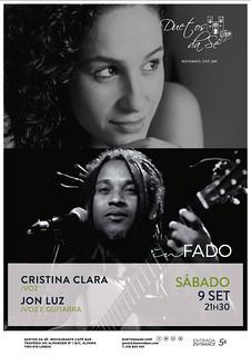 CONCERTO IN FADO - Duetos da Sé - Alfama Lisboa - SÁBADO 9 SETEMBRO 2017 - 21h30 - Cristina Clara - Jon Luz
