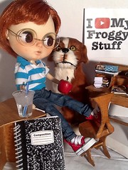 New Photo! Blythe-a-Day#16. Apples&#17. Water: Peanut Takes a Break with Barkley