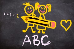 ABC on board (Wallboat) Tags: abc blackboard boy childhood children commoncreativeimages firstclass freeimages freephotos girl learn math royaltyfree school student teaching write