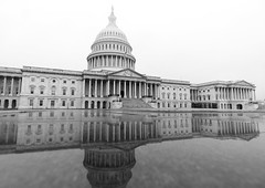 US Capitol Building (johngoucher) Tags: approved architecture building sky blackandwhite wideanglelens uscapitolbuilding uscapitol washingtondc washington cityscape capitolhill morningwalk foggy outdoors reflection sonyimages sonya6000 bw