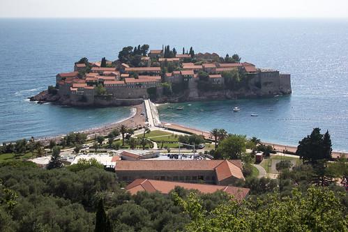 Montenegro - June 2016: Aman Sveti Stefan Hotel Island