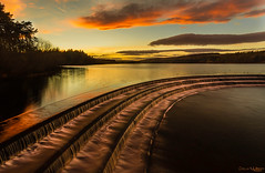 Water Steps (peterwilson71) Tags: cascade water reservoir sunset reflections clouds sky trees yorkshire fewston canon6d