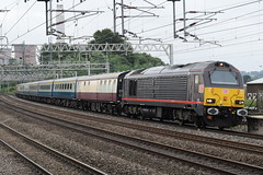 DBC 67005 and 67020 @ Rugeley Trent Valley (ianjpoole) Tags: db cargo class 67 skip 67005 queens messenger 67020 working 1z42 london euston southport