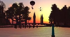 Avilion Nexus - CTA (Osiris LeShelle) Tags: secondlife second life avilion nexus medieval fantasy roleplay ani initiative beacon air balloon pirates combat sunset sky bridge silhouette
