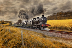 Luddesdown (brian_stoddart) Tags: trains transport railways steam vintage field clouds sky composite montage tone effects