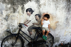 Armenian Street Art @ Penang (L H.) Tags: mural streetart armenian street a georgetown penang malaysia bicycle kid