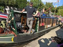 Evie, I doubt you can play a ukulele! (eucharisto deo) Tags: coventry canal barge boat ukulele evie dog alvecote marina instantfave
