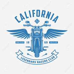 Vintage motorcycle t-shirt design. Racers club emblem. Vector illustration. (CLONESTAMP1) Tags: speed sign rider motorcycle motor vector symbol bike emblem shop label motorbike classic isolated wheel badge retro vintage sport chopper custom sticker logo racer icon engine moto stamp club ribbon cycle design ride old seal logotype insignia fast shirt monochrome usa california american born live wings