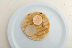 Grilled pita with fish terrine. (annick vanderschelden) Tags: pita bread oliveoil grilled stripes plate white highpointofview fishterrine cod whiting mullet gelation gel agar belgium