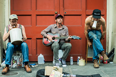 A Jug, a Washboard, and a Man Possessed (thedailyjaw) Tags: d610 nikon neworleans nola louisiana music streetmusicians street streetperformers guitar jug washboard blue bluegrass colors snickers contrast idiosyncratic chucks boots wingtips men possessed feel tune jeans harmonica pbr