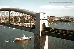 c.1969 - Royal Albert Bridge, Saltash, Cornwall. (53A Models) Tags: britishrail class52 western cc dieselhydraulic passenger royalalbertbridge saltash cornwall train railway locomotive railroad