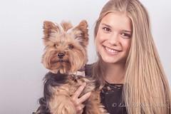 Girl and her dog (halfpennysanchez) Tags: dog portrait girl young yorkshireterrier studiolight whitebackground