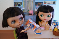 Blythe A Day 20 August 2017 - The breakfast of champions (omgdolls) Tags: cherryberry fauxgoldie ebl goldielookalike licca meredith charlie fake rement blytheaday august barbie