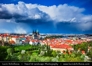 Czech Republic - Prague - Praha - Old Town - UNESCO World Heritage Site - Panorama with Prague Castle - Pražský hrad during stormy day