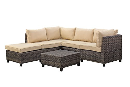 Cheap Tampa 6 Piece Outdoor Rattan Wicker Sofa Sectional Sets – Perfect Patio, Deck, Porch and Sunroom Furniture Set – Long Lasting Comfort – Deep Seating Sofas for Lounging and Dining with Cushions,Beige