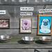 A feeding area for dogs outside a fun Mopse Bar in Berlin, Germany