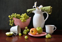Perpetual Noon (Esther Spektor - Thanks for 12+millions views..) Tags: stilllife naturemorte bodegon naturezamorta stilleben naturamorta composition creativephotography artisticphoto arrangement tabletop summer noon food fruit apple grape cluster slice pitcher bowl plate cup nupkin bow ceramics ribbon availablelight white green pink yellow brown black estherspektor canon