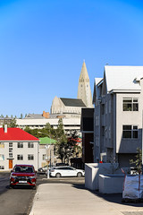 Street on Monday Morning (wyojones) Tags: iceland reykjavik street buildings church morning car redroof greenroof wyojones