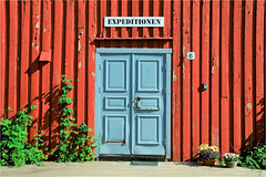 the blue door............ (atsjebosma) Tags: blue red rood blauw decay verwaarlozing painted expeditionen henningsvar norway noorwegen atsjebosma 2017 summer flowers 6 coth5