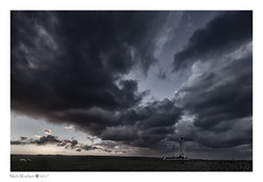 Addiction (MarkWaidson) Tags: nash point lighthouse sky storm desaturated niksilver wales morning rain clouds sheep