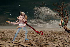 Dance of Time (RuthElizabethLiddell) Tags: past beautiful present future wishful thinking youth daydream dancers ballet desert surreal abstract surrealism fantasy dream halfworld tree dance wishing clock moon girl pocketwatch