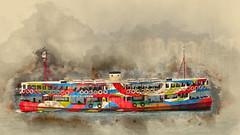 Hong Kong ferry (boeckli) Tags: schiff ship ferry water harbour hongkong fähre texture textures texturen textur sevenstyles watercolor bunt farbig colourful outdoor hafen netartii