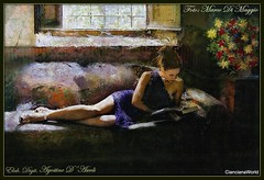 Donna che legge sul divano - Messalina - (2° Elaborazione - Monet) (agostinodascoli) Tags: monet marcodimaggio agostinodascoli texture modella donna photoshop photopainting art digitaart digitalpainting colore fullcolor fiori