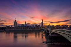 London - Big Ben Sunset (tommyferraz) Tags: big ben westminster london sunset evening golden hour city cityscape bridge thames river longexpo long expo exposure stacking