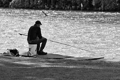 Dam Fisherman:  Waiting For The Bite (J Henry G) Tags: fishing fisherman menashadam johnhenrygremmer blackandwhiteimage foxriver
