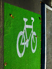 Taking the High Road (Steve Taylor (Photography)) Tags: cycle lane way fluorescent art sign path green white bright newzealand nz southisland canterbury christchurch cbd city texture sunny sunshine bike bicycle leaves shadow