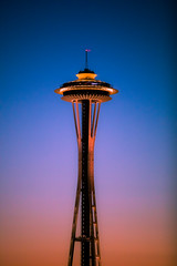 Sunsets and Seattle (Thomas Hawk) Tags: america seattle spaceneedle usa unitedstates unitedstatesofamerica washington washingtonstate sunset
