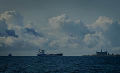 Tanker Nimbus and Kronborg castle (frankmh) Tags: ship tanker nimbus castle kronborg sky cloud öresund denmark outdoor