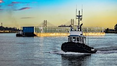 Pushing suds (Christie : Colour & Light Collection) Tags: starboard tug tugboat barge river sunset fraserriver water transporting bc canada sky bridge bow towing pulling tugboats workboat tires nikon