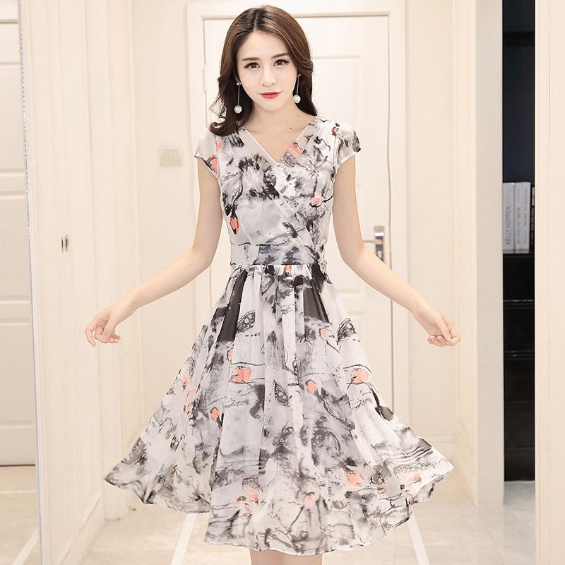 Floral Chiffon Dress Dress 2017 new summer dress Korean slim slim short sleeved in temperament