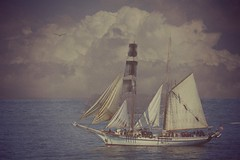 From Sea To Shining Sea (Christina's World-) Tags: tallship festival sail sandiego california bay harbor water scenic landscape seascape texture vintage clouds sky bird flying seagull sailboat ocean sea stormclouds sailors cruising painterly creative
