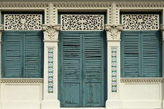 Window shutters (JossieK) Tags: singapore shophouse windows shutters closed blue tiles