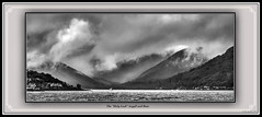 "The ""Holy Loch"" (The Jacobite) Tags: bw sea loch holy dunoon sandbank cloud dark sky storm hill mountain navy polaris"