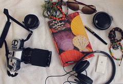 JJ's FAVES in one picture.  Photography, music and writing poetry. (joyful JOY) Tags: sennheiserheadphones ipod jblportablewirelessbluetoothspeaker watermanfountainpen minolta slrfilmcamera minoltax300 sennheiserhd230i