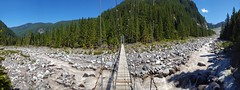 Carbon River Suspension Bridge (Dan Nevill) Tags: wonderland rainier wonderlandtrail mtrainier mountrainier nationalpark backpacking camping trail wilderness alex kieth hiking wildflowers washington pacificnorthwest pnw