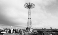Parachute Jump as seen from MCU Park (neilsonabeel) Tags: nikonfm2 nikon film analogue brooklyn newyorkcity blackandwhite mcupark 24mm coneyisland nikkor ultrafinextreme 24mmf28ais