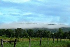 ~ The Fog Lifts From The Mountain ......  Explored #53 (~ Cindy~) Tags: cadescove tennessee lane hyatt fences fog clouds mountains summer juy 2017 frontpage explored 53