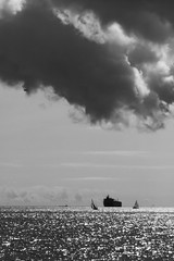 Perspective (Caroline Oades) Tags: perspective clouds ship yachts gameoflife life nikon blackandwhite blackwhite sea ocean falmouth cornwall cornish ominous