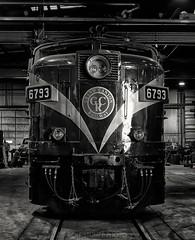 MLW FPA-4 6793 at the Grand Canyon Railway shops. Williams, AZ, November 1996. (rolfstumpf) Tags: usa arizona grandcanyonrailway mlw fpa4 alco monochrome locomotive railway railroad shops shed mamiya 645super