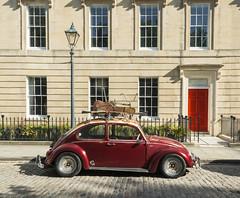 Red Bug (CarolynEaton) Tags: beetle bug vw volkswagen red carsandfacades