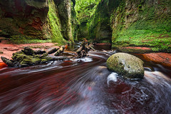 The Devil's Pulpit (Pete Rowbottom, Wigan, UK) Tags: scotlandlandscape scotland finnichglen gorge water river rocks red green waterscape landscape peterowbottom dumgoyne lochlomond stirlingshire thedevilspulpit nature art longexposure dramatic remote beautiful movement summer plants flowers orange light contrast outdoors carnockburn redsandstone geology colourful nikond750 wideangle moss trees leaves canyon