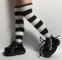 Black And White Striped...Over The Knees Tall Socks...For Blythe...