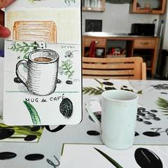 Café du matin ☕😊 (cecile_halbert) Tags: dessin carnetdecroquis carnetdessin croquis croquisencre encre crayon crayoncouleur crayondecouleur croquiscouleur cafe petitdéjeuner sketchbookpage sketchbook sketch sketcher sketchink